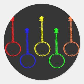 colorful banjos round sticker