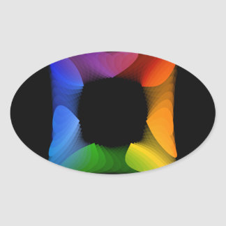 Colorful banner oval sticker