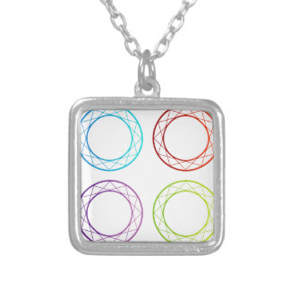 Colorful banners or design element silver plated necklace