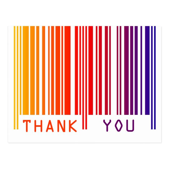 Colorful Barcode Thank You Postcard