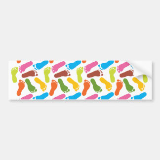 Colorful Bare Footprints Bumper Sticker