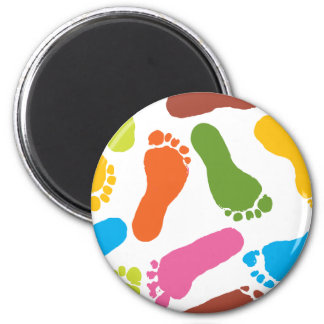 Colorful Bare Footprints 2 Inch Round Magnet