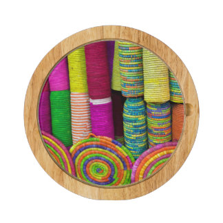 Colorful Baskets At Market Cheese Platter