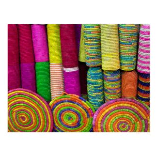 Colorful Baskets At Market Postcard