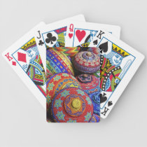 Colorful baskets made from colored plastic beads bicycle playing cards