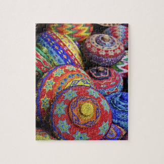Colorful baskets made from colored plastic beads jigsaw puzzle