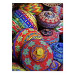 Colorful baskets made from colored plastic beads post card