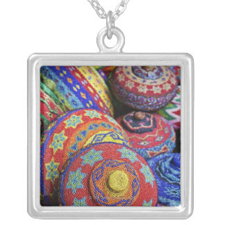 Colorful baskets made from colored plastic beads silver plated necklace