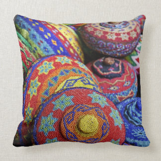 Colorful baskets made from colored plastic beads throw pillow