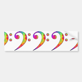 Colorful Bass Clef Bumper Sticker