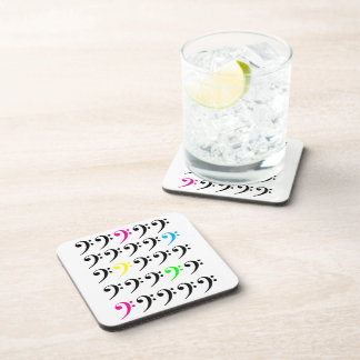 Colorful Bass Clef Cork Coaster