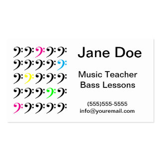 Colorful Bass Clef Customizable Business Card