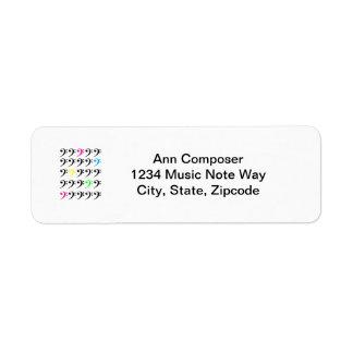 Colorful Bass Clef Label Return Address Label