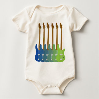 Colorful Bass Guitars Baby Bodysuit