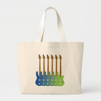 Colorful Bass Guitars Tote Bags