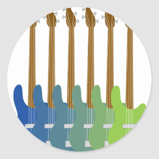 Colorful Bass Guitars Classic Round Sticker