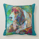 Colorful Basset Hound Throw Pillow