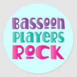 Colorful Bassoon Players Rock Music Gift Round Sticker