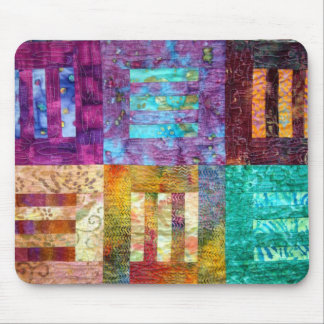 Colorful Batik Quilt Blocks Mouse Pad