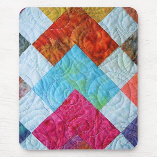 Colorful Batik Quilt Squares Mouse Pad