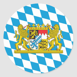 Colorful Bavarian Flag Classic Round Sticker