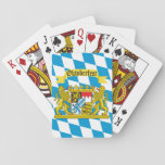 """Colorful Bavarian Flag Oktoberfest Playing Cards<br><div class=""""desc"""">The vibrant colors of the Bavarian Flag proudly displayed.</div>"""