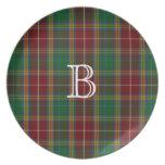 Colorful Baxter Monogram Tartan Plaid Plate