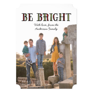Colorful Be Bright Holiday Photo Flat Card