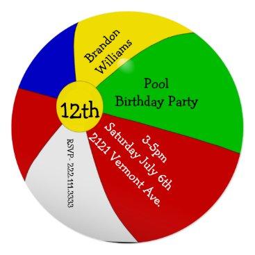 DizzyDebbie Colorful Beach Ball Birthday Party Invitation