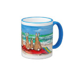 """Colorful """"Beach Bunnies"""" Rabbits at the Beach Mug"""