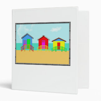 Colorful Beach Cabanas at the Shoreline Vinyl Binder