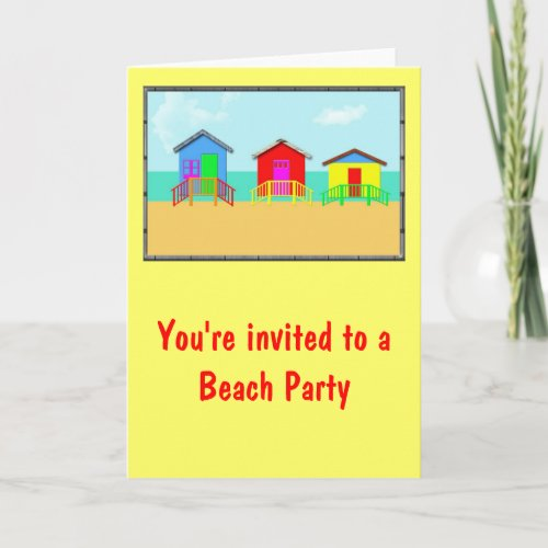 Colorful Beach Cabanas at the Shoreline zazzle_card