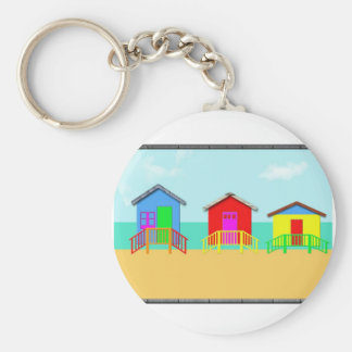 Colorful Beach Cabanas at the Shoreline Keychain