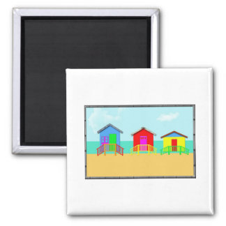 Colorful Beach Cabanas at the Shoreline 2 Inch Square Magnet