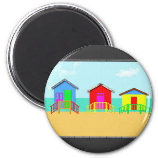 Colorful Beach Cabanas at the Shoreline 2 Inch Round Magnet