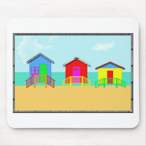 Colorful Beach Cabanas at the Shoreline Mouse Pad