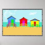 Colorful Beach Cabanas at the Shoreline Print