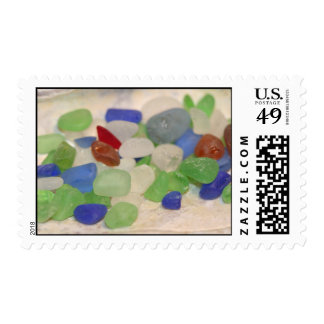 colorful beach glass tines postage