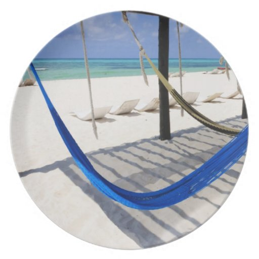 Colorful Beach Hammocks Cozumel Mexico Plate