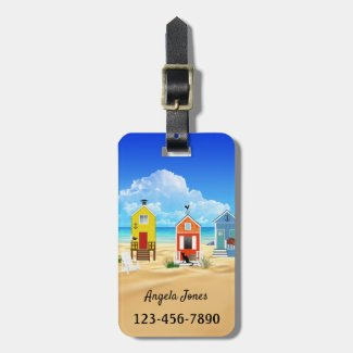 Colorful Beach Houses Luggage Tag