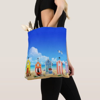 Colorful Beach Houses With Sand And Water Tote Bag