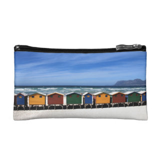 Colorful Beach Huts by the Sea Cosmetic Bag