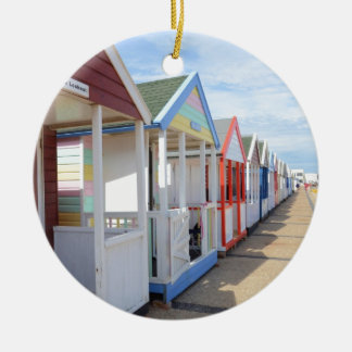 Colorful Beach Huts Double-Sided Ceramic Round Christmas Ornament