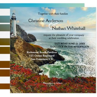 Colorful Beach Lighthouse Wedding Invitation