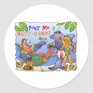 Colorful beach party design. classic round sticker