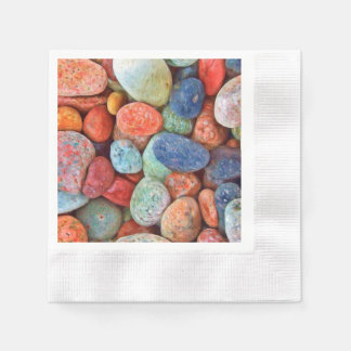 Colorful Beach Pebbles Smooth Stones Rocks Pattern Paper Napkin