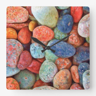 Colorful Beach Pebbles Smooth Stones Rocks Pattern Square Wall Clock