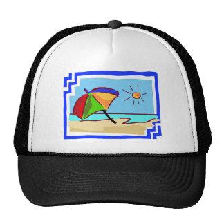 Colorful Beach Scene of Ocean, Sun & Umbrella Trucker Hat