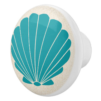 Colorful Beach Shell Scallop Drawer Knobs Ceramic Knob