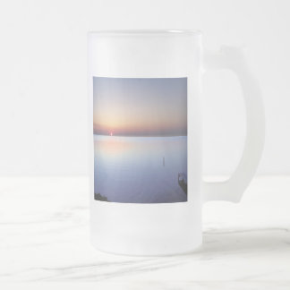 Colorful Beach Sunset 16 Oz Frosted Glass Beer Mug